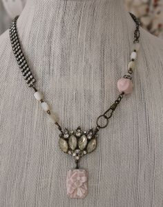 Necklace made from rhinestone bracelet and other vintage jewelry parts. By Angela Singarella