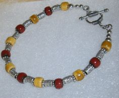925 Silver Deep Red and Yellow Ceramic Glazed by dsmenagerie
