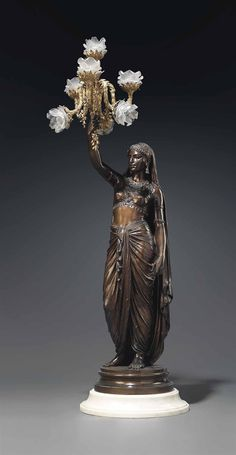 A FRENCH ORMOLU AND PATINATED BRONZE FIGURAL TORCHERE ENTITLED 'PERSANE' -   CAST BY FERDINAND BARBEDIENNE FROM THE MODEL BY EMILE-CORIOLAN-HIPPOLYTE GUILLEMIN, LAST QUARTER 19TH CENTURY