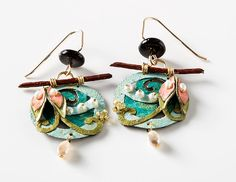 Aqua/Teal/Lemongrass Circle Earrings, Earrings, Jewelry, Home - The Museum Shop of The Art Institute of Chicago