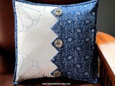 Indigo Sashiko Throw Pillow Decorative Pillow by twistedsticks