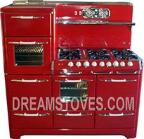 1953 O'Keefe & Merritt Antique Stove, Model- in Red Porcelain, with White Knobs and Handles Available from Dream Stoves. Foyers, Red Appliances, Vintage Appliances, Old Stove, Cooking Stove, Cooking Bacon, Vintage Stoves, Antique Stove, Cherry Kitchen