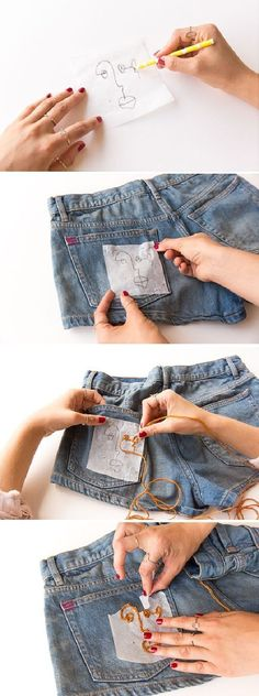 Learn how to embroider any design on clothing by hand, without messing up with this simple DIY hack that will make even DIY newbies look like pros. So easy. Diy Jeans, Diy Ripped Jeans, Diy Shorts, Hand Embroidery Patterns, Diy Embroidery, Embroidery Stitches, Diy Fashion, Womens Fashion, Fashion Design