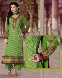Green Georgette Pakistani Style Suit 65594