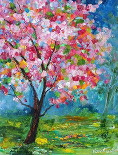 Original oil painting Spring Tree of Life landscape abstract impressionism fine art impasto on canvas by Karen Tarlton
