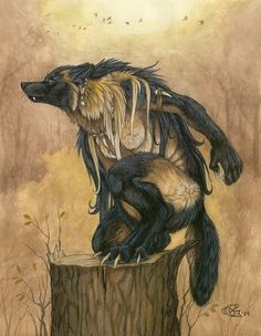 """""""A female Kierrn (my own brand of werewolf) senses that someone, or something, has entered her territory. She perches on a stump, scenting the wind, not liking what she smells."""