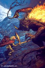 It was at that time that a balrog and a contingent of orcs ambushed their company. Glorfindel there accomplished his greatest deed, for he saved the lives of Tuor, Idril, and all the company when he defied the balrog. They fought long.  Glorfindel stabbed it in the belly, but as the balrog fell it reached out and grabbed his long golden hair, pulling him back down over the edge of the cliff.