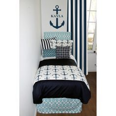 Coastal & Navy Nautical Designer Bed In A Bag Set Designer headboard, custom pillows, exclusive bed scarf, window panels, wall art, bed skirts, duvet (twin, queen, king) and custom monogramming!! Turn your room from drab to fab!!
