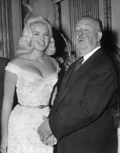 Alfred Hitchcock & Diana Dors // where i first saw her. love this picture!