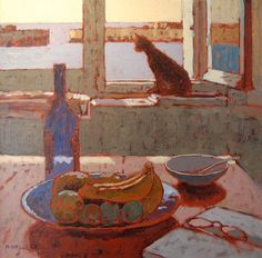 still life with cat | Mike Hall. His work: http://www.beaulieufinearts.co.uk/hall/hall.htm