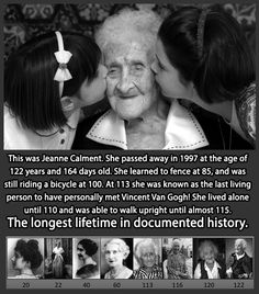 Funny pictures about The long life of Jeanne Calment. Oh, and cool pics about The long life of Jeanne Calment. Also, The long life of Jeanne Calment. The Journey, Info Board, Wtf Fun Facts, Random Facts, Random Stuff, Strange Facts, Strange Things, Faith In Humanity Restored, All That Matters
