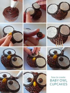 How to Make Owl Cupcakes Tutorial @ Dome. - How to Make Owl Cupcakes Tutorial @ Domestic Mamma - Owl Cupcakes, Cupcake Cookies, Deco Cupcake, Oreo Frosting, Chocolate Frosting, Cake Stall, Owl Birthday Parties, Birthday Cake, Cupcake Tutorial