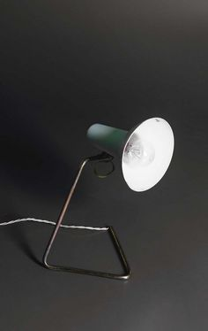 Gino Sarfatti; #551 Enameled Metal and Brass Table Lamp for Arteluce, 1952.