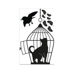 """Style and Apply Cat in the Cage Wall Decal Size: 38"""" H x 24"""" W, Color: Black"""