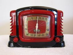 1940s Trietone Art Deco Century Bakelite Radio like my white one. Prefer the white (ivory) to this colourful one!