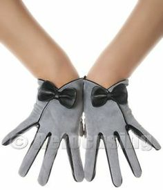 BOW SUEDE LEATHER GLOVES VINTAGE PATTERN
