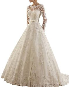 RightBride Womens Ivory Womens Jewel Lace Applique Long Sleeves Wedding Dress for Bride 2017 Sash Chapel Train A Line Dress Bride Size 26W ** For more information, visit image link.