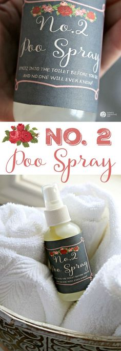 ***Homemade Poo Spray ~ make your own Poo Potpourri toilet spray to hide embarrassing smells. Just spritz into the toilet before going and no embarrassing odors. The Free Printable labels is yours too! See step by step instructions. Cleaners Homemade, Diy Cleaners, Household Cleaners, Poo Spray, Fee Du Logis, Diy Cadeau, Toilet Spray, Do It Yourself Inspiration, Style Inspiration