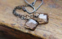 Long Gemstone Earrings - Neutral Light Brown Smokey Quartz Drop Handmade Modern Jewelry Gifts for Her.