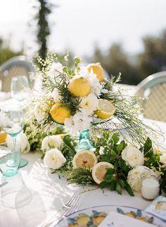 Fruit Table Decorations White Flowers 61 Ideas For 2019 Lemon Centerpieces, Wedding Centerpieces, Wedding Table, Wedding Decorations, Table Decorations, Wedding Ideas, Wedding Themes, Wedding Photos, Yellow Wedding