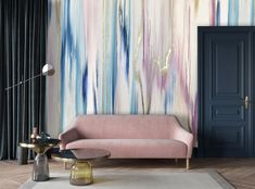 Wallpaper for nursery, pastel wallpaper, abstract painting wallpaper, modern art wallpaper, abstract painting with gold leaf, blush sofa, blush and navy decor, living room decor wallpaper, hotel wallpaper, navy and pink decor, wallpaper design bedroom, blush wallpaper, pastel wallpaper, nursery wall mural