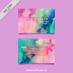Hand painted business card design Free Vector