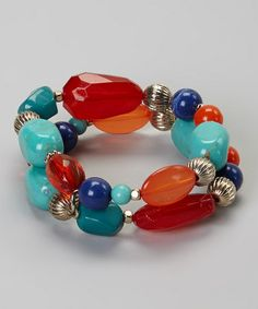 Look at this #zulilyfind! Blue & Red Bead Stretch Bracelet Set #zulilyfinds