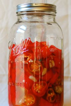 Marinating habaneros for Habanero Sriracha from One tomato, two tomato.