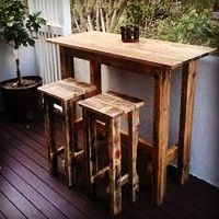 Outdoor Pallet Bar Table And Stools This Was A Custom Order For Some Great People Check Us Out At Facebook Palletlifeaustralia