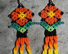 Huichol Peyote Beaded Earrings YY Yellow by HuicholArte on Etsy