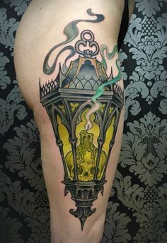 Nice Lantern Tattoo By Matt Buck