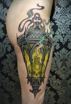 Nice Lantern Tattoo By Matt Buck