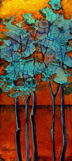 Blue Grove 2 by Carol Nelson Mixed media abstract tree landscape on metal leaf board. carolnelsonfineart.com
