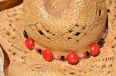 Handmade Hatband Bracelet 2-in-One Beautiful Red Coral, Black Onyx & Crystal Western Southwestern Chunky Bohemian Boho Cowgirl  Hat Jewelry #handbags #circle1