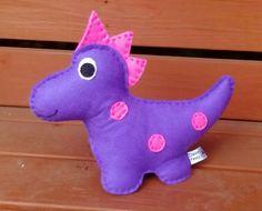 Felt Dinosaur, Toy Dinosaur, CE Tested, Soft Toy, Purple, Pink, Dino, Childrens Toy, Childrens Dinosaur, Toys for Boys by DaisyFelts on Etsy
