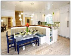 Modern Kitchen Table Bench Seating with Contemporary Kitchen Kitchen Island With Bench Seating, Kitchen Island With Seating, Kitchen Benches, Kitchen Islands, Corner Seating, Kitchen Island Dining Table, Islands With Seating, Kitchen Booth Seating, Kitchens With Islands