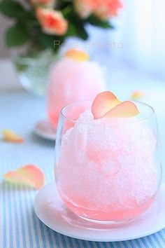 rose granita: rose water, lime and honey