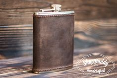Personalized Flask 6 oz flask Leather wrapped Flasks by ShopDaddy