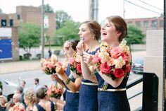 Jenna's Preppy Wedding with navy blue lace bridesmaid dresses, mixed flowers and metallic gold belts. Navy Blue Bridesmaid Dresses, Alternative Wedding, Gold Belts, Blue Lace, Ladies Dress Design, Perfect Wedding, Preppy, Real Weddings, Metallic Gold