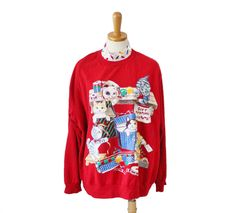 Vintage 80s Cats Ugly Christmas Sweater - Red Sweatshirt - Women Men 2XL, mock turtleneck, holidays, tacky busy by bluebutterflyvintage on Etsy