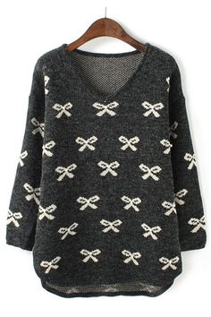 V Neck Bowknot Printing Pullover Sweater