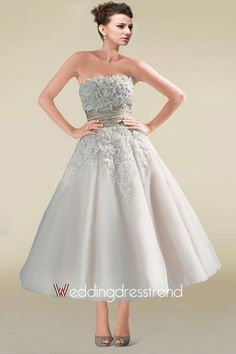 Beautiful Two-tone Ankle-length Bridal Dress Featuring Exquisite Appliques and Beadings - Cheap Wedding Dresses Wholesale and Retail Online Store