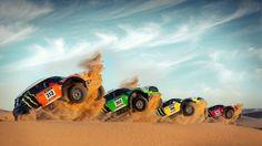 Despliegue de los Mini Cooper en medio de las dunas desérticas (Fuente: Mascoche.com)
