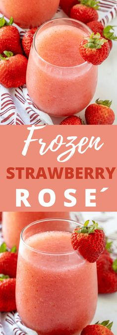 It's Frozé season! This recipe Frozen Strawberry Rosé is a must try! Great summer drink with no added sugar. Frozen wine slushies can be made with rose or a white wine of your choice. Wine Slushie Recipe, Best Margarita Recipe, Wine Slushies, Margarita Recipes, Drink Recipes, Party Food And Drinks, Tea Drinks, Cocktails, Summer Grilling Recipes