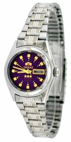 "Orient #BNQ1X003V Women's Tri Star Purple Dial Automatic Watch Orient. Save 61 Off!. $52.95. Water Resistant - 30M. Screw Down Caseback. Mineral Crystal, Day/Date Display with Spanish Option, Gold Tone Hands and Markers. Orient 21 Jewels Self-Winding Automatic Movement, Oscillation Frequency: ""21,600 oscillations per hour (6 beats per sec)"". Stainless Steel Case and Band with Fold Over Deployment Clasp. Case Size:  26mm Diameter, 10.5mm Thickness"