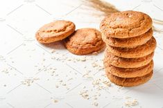 A stack of oatmeal cookies. by Mellisandra on @creativemarket