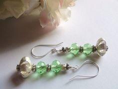 Peridot Green Earrings Sterling Silver Handmade by RockinWrapper Under 15$ section in my shop!