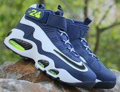 new product 28629 e33f4 The Nike Air Griffey Max 1 White Black-Midnight Navy releases Saturday, May  Navy is overlaid against white leather, with contrast volt accenting and .
