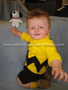 Homemade Baby Charlie Brown Costume: People were always saying that our son, Reef, looks just like Charlie Brown because of how round his head is and because for a long time the only hair