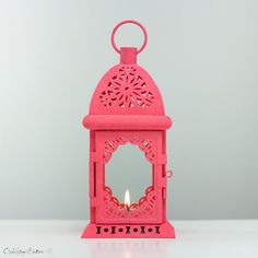 Vintage Style Outdoor Lantern - Shabby Cottage Chic Spring Wedding Decor - Vibrant Coral Candle Holder